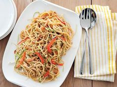 Sesame and Peanut Noodles : Melissa's Asian-inspired sauce is made with creamy peanut butter, honey, soy sauce and Sriracha. Toss the peanut sauce with vegetables and noodles before topping with chopped peanuts and toasted sesame seeds. via Food Network Vegetarian Recipes, Cooking Recipes, Healthy Recipes, Vegetarian Dinners, Healthy Dinners, Grilling Recipes, Sesame Peanut Noodles, Asian Recipes, Ethnic Recipes