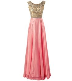Changjie Womens Chiffon Formal Evening Dresses For Wedding Guest Size 12 Coral * Click image for more details.  This link participates in Amazon Service LLC Associates Program, a program designed to let participant earn advertising fees by advertising and linking to Amazon.com.