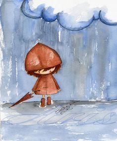 Love the colors and drawing Kawaii Drawings, Cute Drawings, Rain Art, Umbrella Art, Cute Illustration, Rainy Days, Painting Inspiration, Cute Art, Sketches