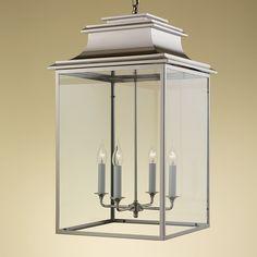 MY/122/L/PN Lantern Ceiling Lights, Ceiling Light Design, Lanterns, Pendant Light Fixtures, Pendant Lamp, Industrial Interiors, Light Decorations, Polished Nickel, Clear Glass