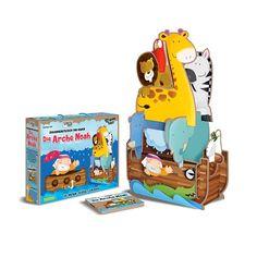 3D-Riesen-Puzzle & Buch  Bau dir eine fantastische Arche Noah, betrachte sie von allen Seiten unentdecke die Tiere, die vor der Sintflut gerettet werden!  Setz das Zebra und den Elefanten zusammen, die Giraffe und das Nashorn und all die anderen Tiere auf der Arche Noah.   Und zum Schluss gesellt sich noch eine schöne weiße Taube dazu!  Ein wunderschönes Bilderbuch, in dem du alles über die Geschichte Noahs und seine Rettung der Tiere erfährst!  #puzzle #3dpuzzle #sassi #sassijunior