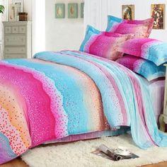 Neon Color Aqua and Hot Pink Colorful Bending Stripe Print Polka Dot Design Elegant Girls 100% Cotton Damask Full, Queen Size Bedding Sets - EnjoyBedding.com