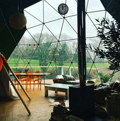 Life inside of #Geodesic #Dome Home (Photo taken at Loveland Farm UK ~ Dome by Pacific Domes)