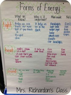 Teaching the forms of energy to fifth grade can be challenging since there are many tough concepts. Here is an anchor chart physical science idea to help teach forms of energy like light, heat and sound.