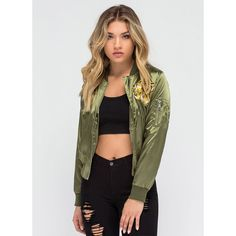 Hear Us Roar Tiger Satin Bomber Jacket OLIVE ($40) ❤ liked on Polyvore featuring outerwear, jackets, green, zip up jacket, zipper jacket, bomber jacket, green military jacket and embroidered jacket
