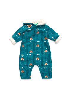 Lake Blue Teepee Snowsuit  This blue teepee snowsuit is sure to keep baby warm in colder weather with its thick cotton sherpa lining. This deep blue snowsuit comes with brightly coloured teepees in a woodland scene and is fully lined with a thick cotton lining and a hood.