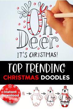 Christmas Doodles, Christmas Drawing, Christmas Greeting Cards, Christmas Art, Handmade Christmas, Christmas Holidays, Christmas Decorations, Christmas Worksheets, Hand Lettering Art