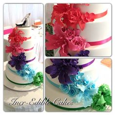 5 tier Wedding cake with multi coloured sugar flowers