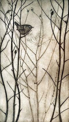 29 may Foraging Wren - collagraph print - Kerry Buck Gravure Illustration, Illustration Art, Illustrations, Art Aquarelle, Collagraph, Linocut Prints, Bird Art, Oeuvre D'art, Textile Art
