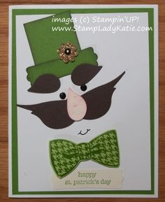 Punch Art Leprechaun Card for St. Patricks Day using StampinUP!s Bird Builder Punch