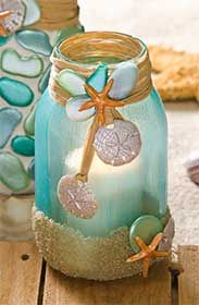 Mason Jar Candle Holder for a Beach Wedding made with Mod Podge Sheer Color and Sea Shell Mod Melts