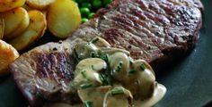 Steaks with Madeira and Mushroom Sauce. Recipe uses 2 sirloin, rib-eye ...