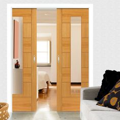Double Pocket Brisa Sirocco Oak sliding door system in three size widths with clear glass. #internalpocketdoors #roomdividers #slidingdoors