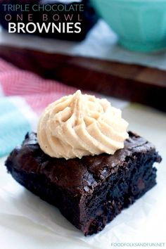 These Triple Chocolate One Bowl Brownies are rich, fudgy, and so incredibly easy to make! One bowl is all it takes to make this kitchen staple! Chocolate Desserts, Fun Desserts, Delicious Desserts, Dessert Recipes, Yummy Food, Chocolate Cake, Bar Recipes, Dessert Bars, Best Brownie Recipe