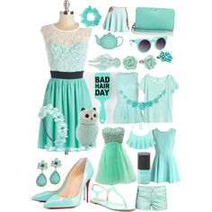 Minty green by julia3smith on Polyvore featuring polyvore, fashion, style, Chicwish, Miss Selfridge, H&M, Charlotte Russe, Charles by Charles David, Kate Spade, LC Lauren Conrad, Louche, Feather & Stone, Quay and Wet Seal
