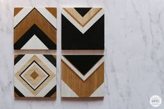 DIY Geometric Wood Coasters Learn how to make easy geometric wood coasters from scrap wood and custom stencils in just a few easy steps. A great gift for loved ones! Wooden Coasters Diy, Custom Coasters, Wooden Diy, Scrap Wood Projects, Cool Woodworking Projects, Gold Acrylic Paint, Custom Stencils, How To Make Coasters, Idee Diy