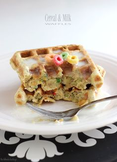 Fruit Loop Waffles with Milk Glaze   23 Insanely Fun Ways To Eat Cereal