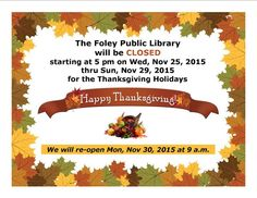 Foley Public Library Closing for the Thanksgiving Holidays 2015