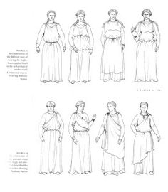 peplos - Greece 500 BCE/475 BCE - woman's garment, made of wool - similar to a tunic- Chiton's were worn by both men and women - two different types - Doric - plain wool tunic; Ionic - more of a gown, made of linen. All made from a single piece of fabric, draped over body and held in place by belts.