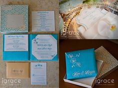 Tiffany Blue Boxed Invitations with Monogram