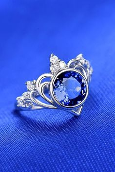 Genuine Blue Sapphire Gemstone Fine Ring Special Gift For Her Details about  /Solid Gold 0.10Ct