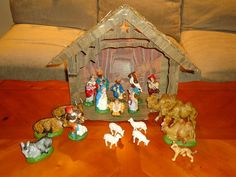 Vintage Light Up Nativity Scene Set of 20 Plus Manger Hand Painted Italy | eBay