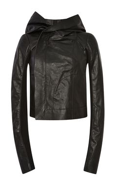Hooded Leather Biker Jacket by Rick Owens - Moda Operandi