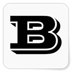 Capital Letter B Large Square Stickers by Janz