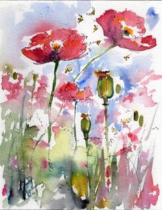 Pink Poppies Pods and Bees Watercolor by Ginette by Ginette Callaway