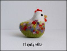 Country Chicken in wildflower pattern needle felted Needle Felted Ornaments, Felted Wool Crafts, Felt Crafts, Needle Felted Animals, Felt Animals, Chicken Crafts, Needle Felting Tutorials, Felt Birds, Felt Christmas Ornaments