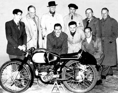 The Montesa racing team at IoM TT in 1951. Can you identify Sr. Bulto, who would go on to form the Bultaco motorcycle company