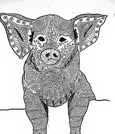 Zentangle inspired art pig