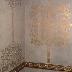 Altered metallic stenciled wall