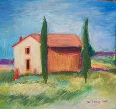 Tuscany Farmhouse -Original Oil Pastel on Strathmore acid free Smooth Surface 100 wt.Size 12 inches wide X 9 inches deep. Available for purchase. Acrylic Photo, Modern Impressionism, Pastel Paper, Regions Of Italy, Complimentary Colors, Box Frames, Custom Art, Original Art, Art Gallery