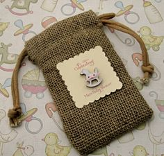 Burlap Baby Shower Favor Bags- Rocking horse