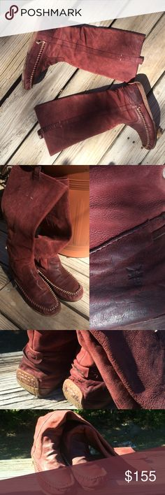 Burgundy FRYE Moccasin Boot Burgundy FRYE Moccasin Boot - Size 8.5 - Previously loved, great condition. Some watermarks here and there, nothing real noticeable. Loved these because they have a wide calf and it was easy to wear with jeans tucked in! It's time for them to have a new home Frye Shoes Moccasins