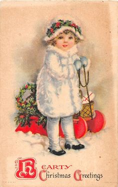 Christmas Greetings Girl Unsigned Ellen Clapsaddle Antique Postcard J16641 | eBay