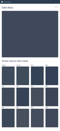 Dark Navy, Behr. Click the image to see similiar colors by other brands.