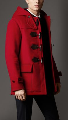 $1,695, Red Duffle Coat: Burberry Seam Detail Duffle Coat. Sold by Burberry. Click for more info: https://lookastic.com/men/shop_items/19948/redirect