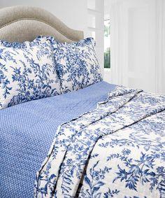 Loving this Blue & White Floral Vintage Reversible Quilt Set on #zulily! #zulilyfinds
