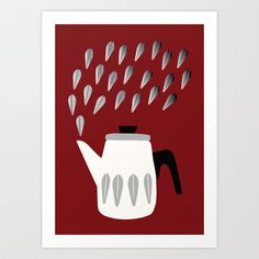 Steaming Coffeepot in Grey Art Print by The Bearded Bird. - $14.00