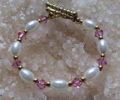 Handmade Baby Swarovski Glass Pearl  Bead Bracelet