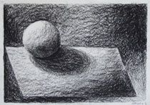 Age 12 ~ Drawing ~ Charcoal ~ Sphere on Plane with Shadow