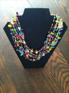 Bead soup necklace made with multiple glass beads