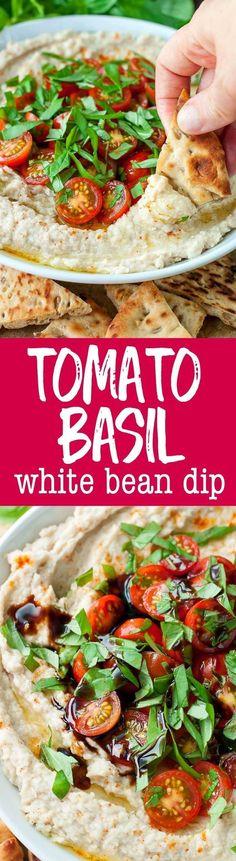 Taking snacking to the next level with this tomato basil white bean dip!