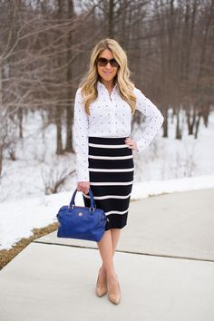Black and White, Stripes and Dots - Adorable pattern mixing for work...click through for outfit details!