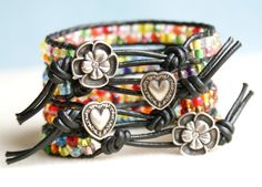 Colorful Bohemian beaded leather bracelet single by OlenaDesigns, $20.00