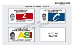Tarjetón de elección para Alcalde de Cubará