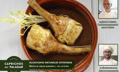 Esta semana, no podía faltar una gran receta de nuestro amigo Carlos Guarinos, de la mano del profesor de hostelería J.A Pellicer y tiene pinta.... puffff ... ¡ que da hambre solo de verla y leerla !  ALCACHOFAS ENTERAS ESTOFADAS ¿ Apetece?