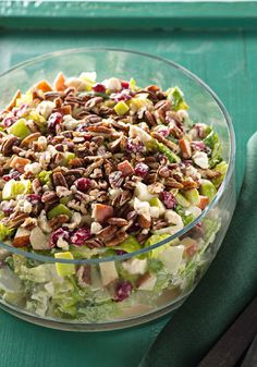 Festive Apple-Cranberry Salad – The hardest part of this easy recipe? Waiting for the salad to completely cool in the refrigerator—but it's time well spent! If you're looking for a dish that will impress this holiday season, whip up this color starter with fresh apples, chopped romaine lettuce, and PLANTERS pecans. Your family and friends are sure to be pleased with its delicious flavor.
